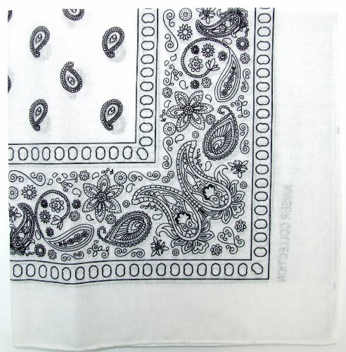 Kaiser Novelty Bandanas Paisley Cotton Bandanas (White  22 X 22 in)