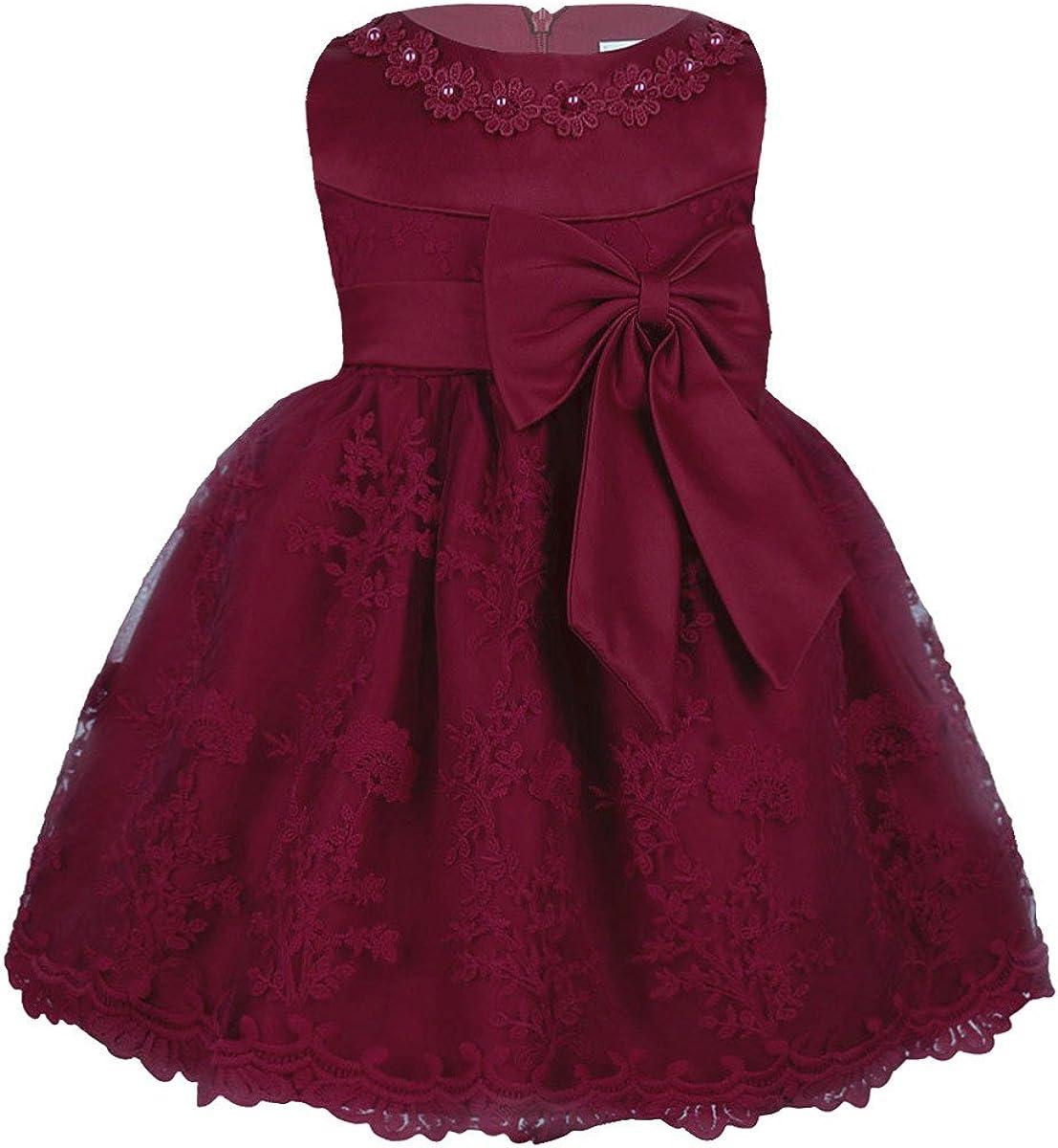 Freebily Baby M/ädchen Prinzessin Kleid Spitzen Blumenm/ädchenkleider Taufkleid Festlich Kleid Hochzeit Partykleid Festzug Babybekleidung