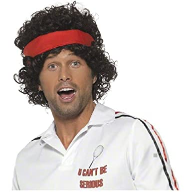 80s Tennis Player Wig Adult John McEnroe Mens Funny Halloween Costume Accessory  sc 1 st  Amazon.com : funny 80s costume  - Germanpascual.Com
