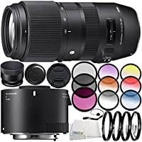 Sigma 100-400mm f/5-6.3 DG OS HSM Contemporary Lens for Nikon F 10PC Accessory Bundle – Includes Sigma TC-2001 2x Teleconverter for Nikon F + MORE