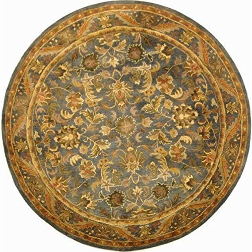 Safavieh Antiquities Collection AT52C Handmade Traditional Oriental Blue and Gold Wool Round Area Rug 8' Diameter