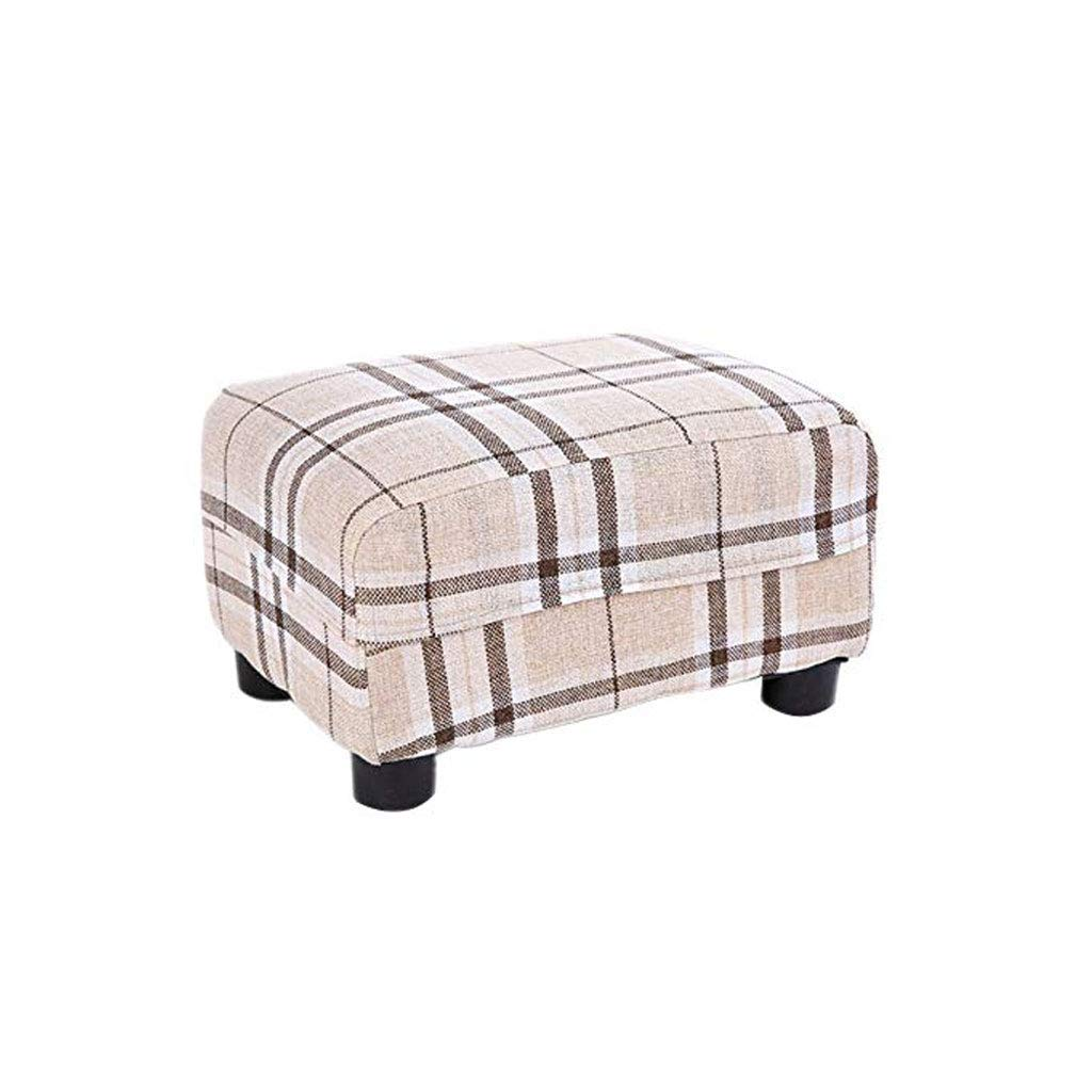 A GJD Solid Wood Footstool, Living Room Home Small Bench Fabric Sofa Stool, Multi-color Selection (color   A)