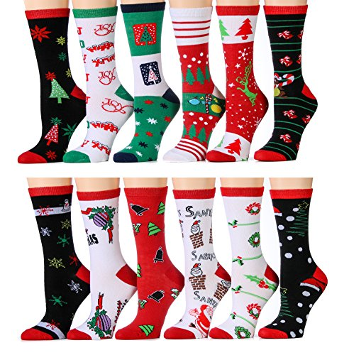 12 Pairs of Womens Christmas Crew Socks, Holiday Printed Festive Patterns by excell