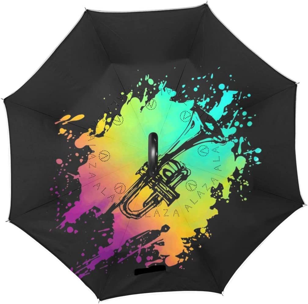 Double Layer Inverted Umbrellas with Psychedelic Trumpet Pastel Splash Print C-Shaped Handle Umbrella Windproof Reverse Folding Umbrella for Car