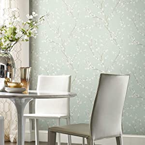 RoomMates Blue Cherry Blossom Peel and Stick Wallpaper