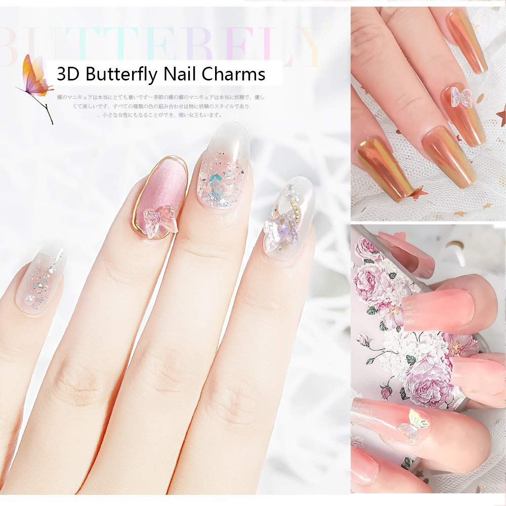 Amazon Com 4 Boxes 3d Butterfly Nail Charms Butterfly Acrylic Nail Art Stud Pearl Metal Rivets Glitter Butterfly Charms Nail Designs 2021 For Nail Art Decoration Diy Crafting Design Beauty