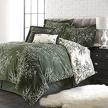 Spirit Linen Hotel 5Th Ave 6-Piece Foliage Collection Plush Reversible Comforter Set, King, Hunter/Ivory