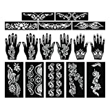 PARTH IMPEX Henna Tattoo Stencils (Pack of 16) Self Adhesive Full Body Paint Designs Template for Temporary Mehndi Drawing Hand Arms Shoulders Chest Lower Back Legs Tribal