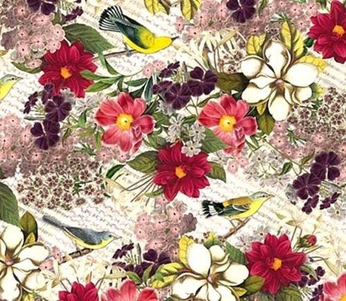 Yellow Finch / Floral Tissue Paper 239 .. Bird, Flower, Botanical - 10 lg ()