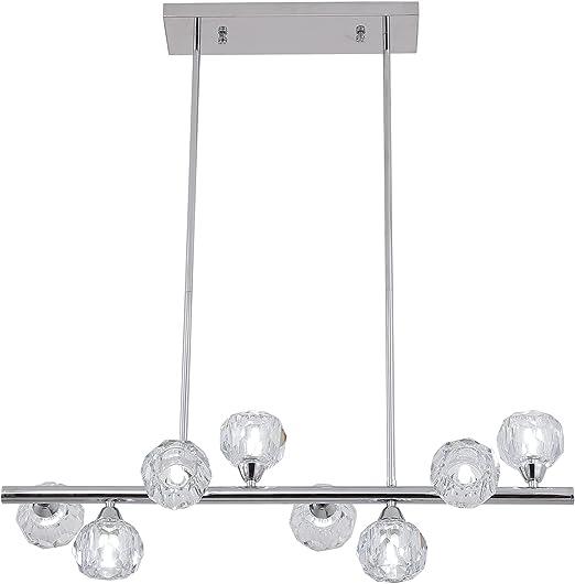 Weesalife Sputnik Chandelers Modern Crystal Kitchen Island Pendant Light 8 Lights Contemporary Chrome Chandeliers Light Fixtures for Dining Room Bedroom Living Room