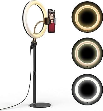 川の信芸 LEDリングライト 高さ・角度調整可能 自撮りリングライト クリップ付き リモートワーク用 リモート勉強用 ズームコール用 ライブブロードキャスト用