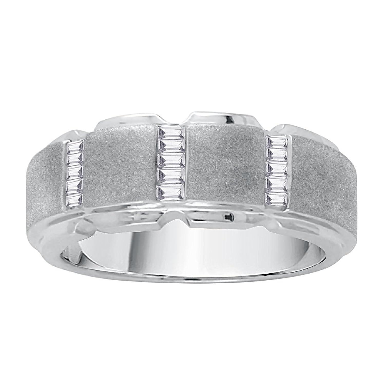 Baguette Cut Diamond Men's Wedding Band in 10K White Gold (1/4 cttw)(Color-GH VSSI Clarity) (Size-5)