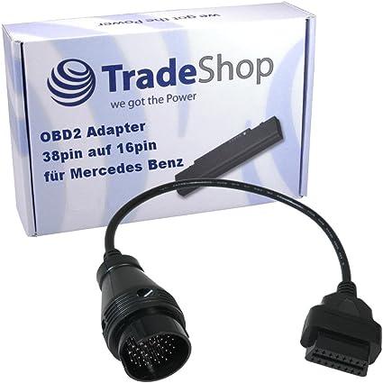 Obd1 38pin Mercedes Benz Auf 16pin Obd2 Adapter Für Alle Mercedes Benz Modelle Bis Ca Bj 2000 W124 W140 S202 W202 W203 W204 Auto