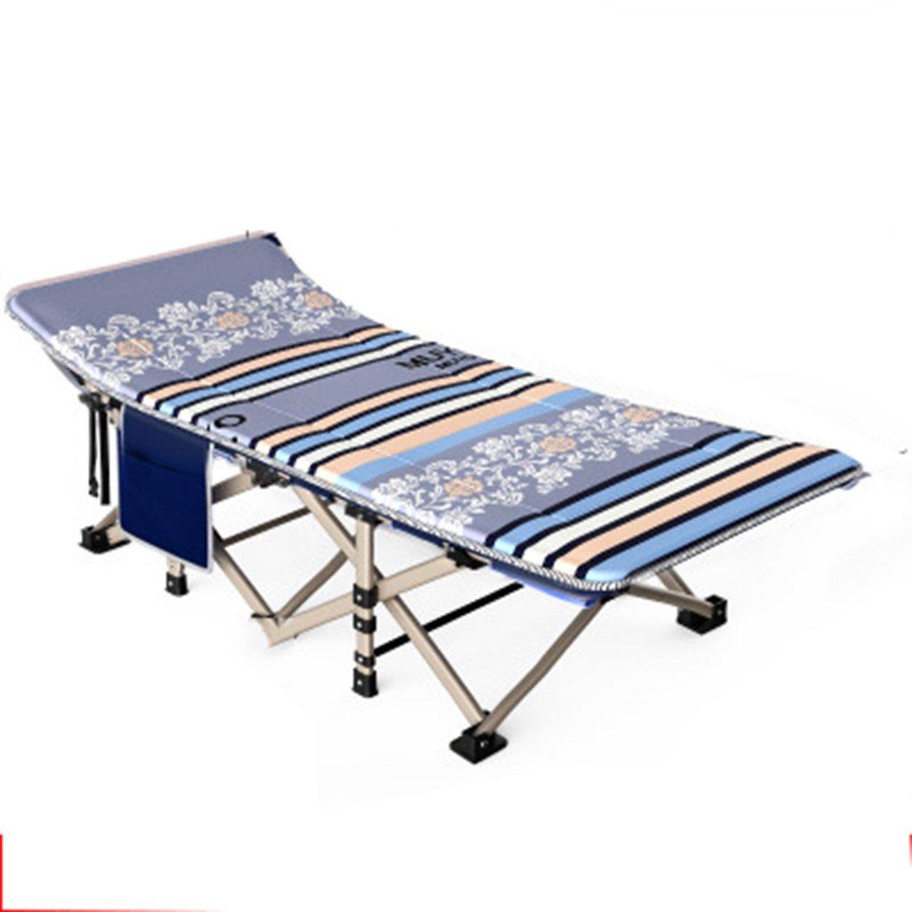 Stühle Outdoorfolding Bett Einzelbett Siesta Siesta Bett Einfaches Tuch Bett Camping Bett begleitendes Bett (Farbe : grau, Größe : 190  67  35cm)