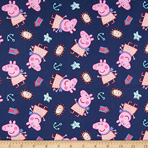 Springs Creative Products 0588929 Springs Creative Entertainment One Pig Peppa by The Seaside Navy Fabric by The Yard