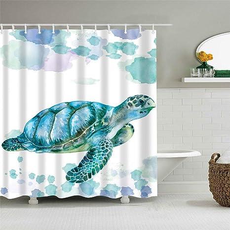 Longtrade Shower Curtain Set With Hooks Ocean Theme Vivid Sea