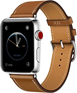 Leather Band Compatible with iWatch 40mm 38mm Genuine Leather Strap Watch Bands Replacement for iWatch Series 6/SE Series 5 Series 4 Series 3 Series 2 Series 1 38 mm/40 mm Bracelet Loop Brown