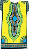 RaanPahMuang Brand Child Dashiki Colors Afrikan Full Kaftan Throw Over Outfit, 0-2 Years, Yellow