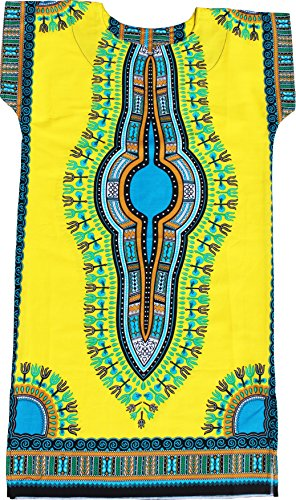 RaanPahMuang Brand Child Dashiki Colors Afrikan Full Kaftan Throw Over Outfit, 0-2 Years, Yellow by RaanPahMuang