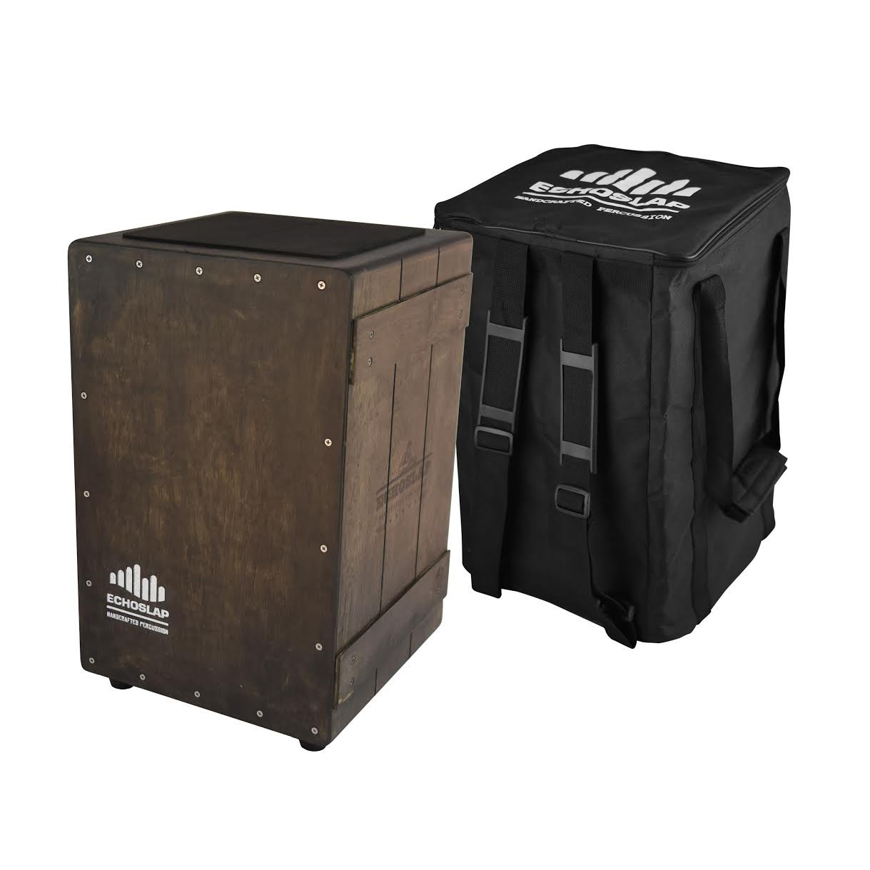 Echoslap Vintage Crate Cajon -Vintage Dark, Hand Crafted, Siam Oak Body, Maple Front Plus Gig Bag by Echoslap Percussion