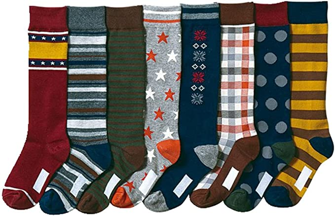 Boys Soft Stars and Snow Stocking Youth Pattern Knee High Cotton Socks 8 Pairs Yzjcafriz