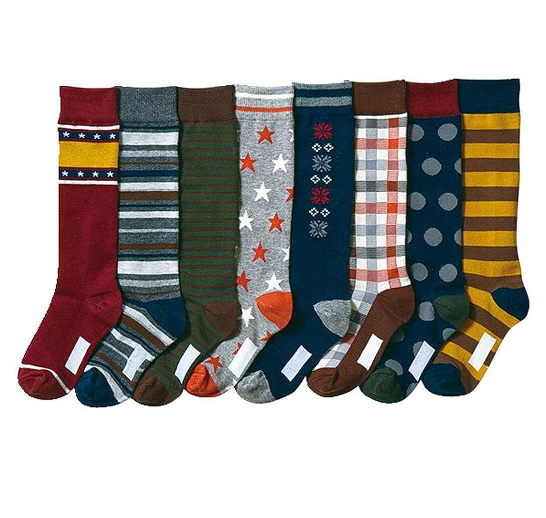 Boys' Soft Stars and Snow Stocking Youth Pattern Knee High Cotton Socks 8 Pairs Yzjcafriz