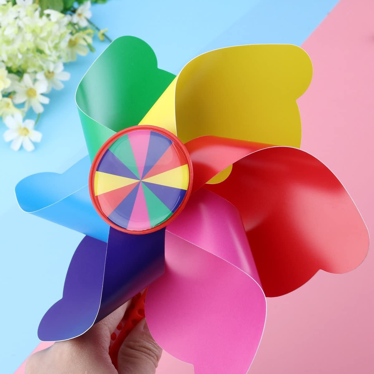 HeiHy Children Bicycle Handlebar Pinwheel Colorful Bike Windmill Tricycle Windmill Bike Decoration Floral Color