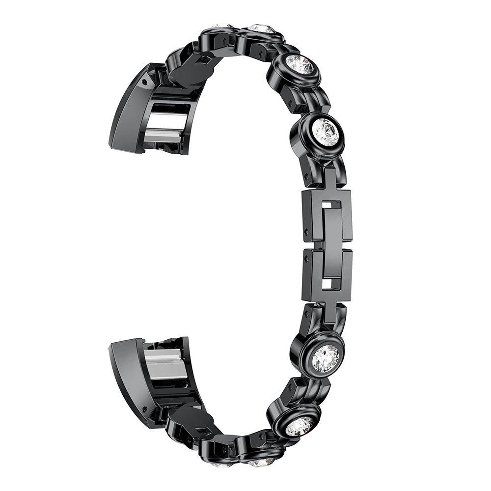 For Fitbit ALTAアルタ/ HR時計バンド、ステンレススチールメタル交換withラインストーンスマート腕時計手首ストラップブレスレット  ブラック ホワイト B078MPHFQD