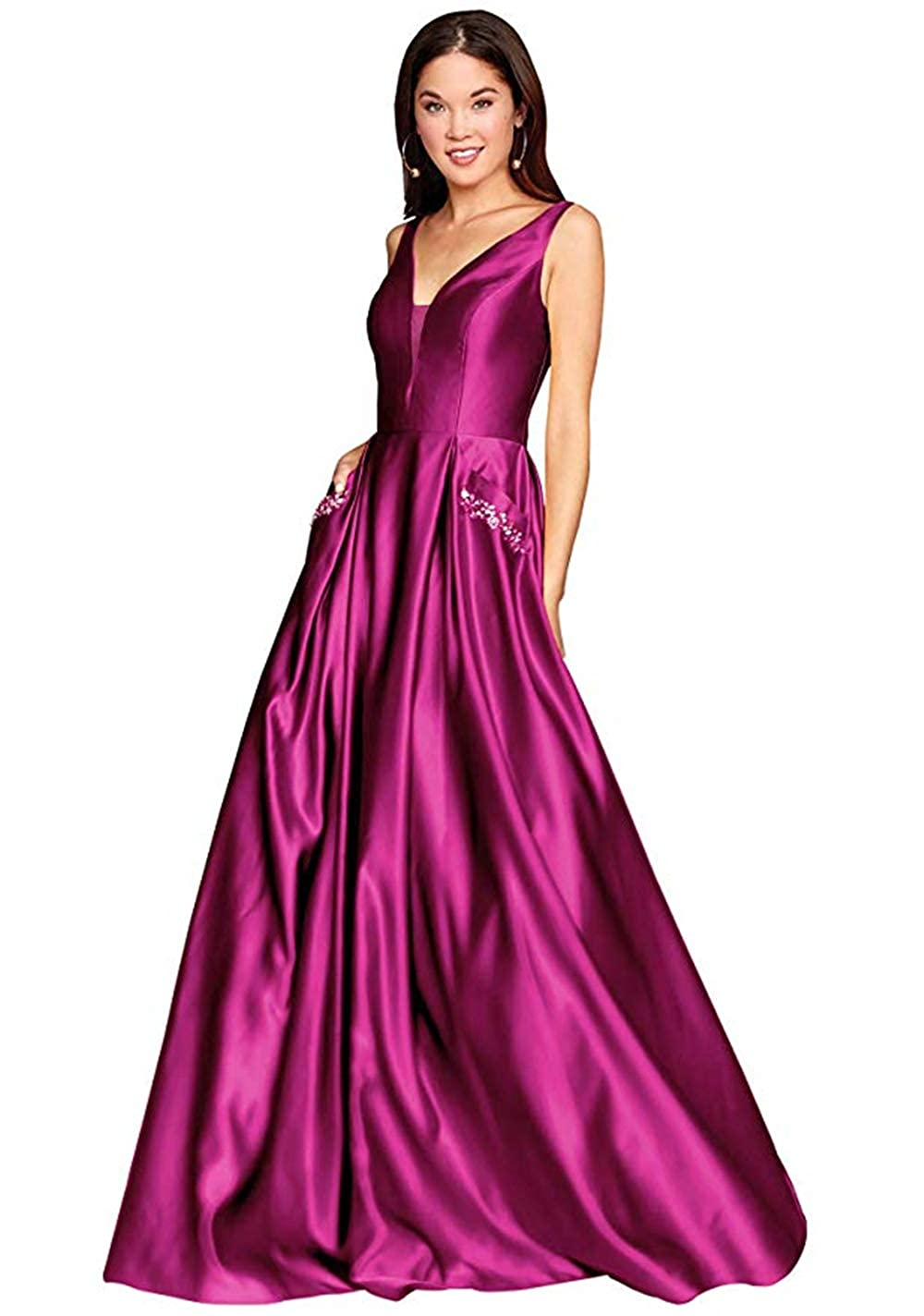 01hotpink PROMNOVAS Women's V Neck Backless Beaded Satin Prom Dress Long Formal Evening Gown with Pockets
