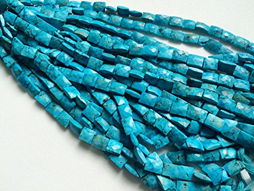 Turquoise Rectangle Beads African (JP_Beads 1 Strand Natural Turquoise Chewing Gum Cut Beads, Chinese Turquoise Rectangle Beads, Turquoise Necklace 9mm, 8 inch)