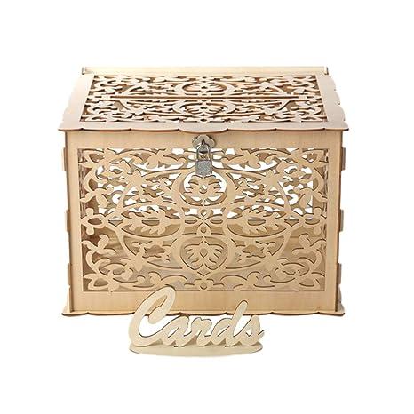 Amosfun - Caja de madera para tarjetas de boda con ranura ...