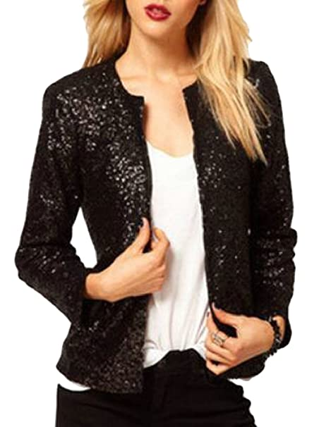 bbe58612d60b0 Yayu Womens Business Plus-Size OL Office Sequin Glitter Blazer Suit Jacket  at Amazon Women s Clothing store