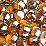 soldbbq 10-Pound 1/2 Inch Glass bead decoration for Fireplace,Fire Pit, Amber Luster(Brown)