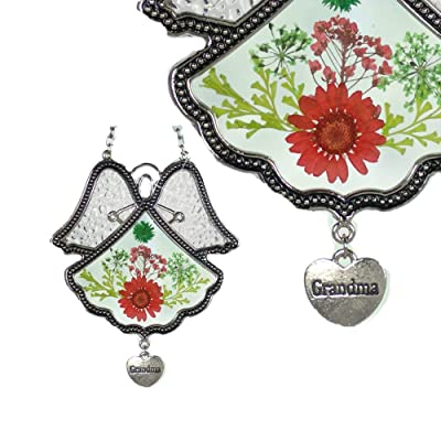 BANBERRY DESIGNS Grandmother Angel Sun Catcher - Pressed Flowers in Glass Angel Shaped Suncatcher with Silver Heart Grandma Charm - 4 1/2 Inches for Grandma : Single Frames : Garden & Outdoor