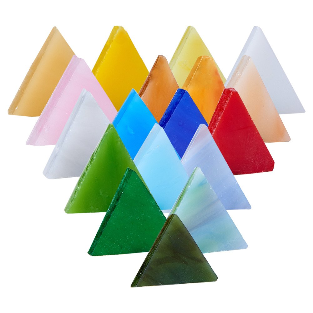Pandahall Elite About 350 pcs Mixed Color Triangle Mosaic Tiles Opaque Glass Cabochons for Home Decoration Crafts Supply