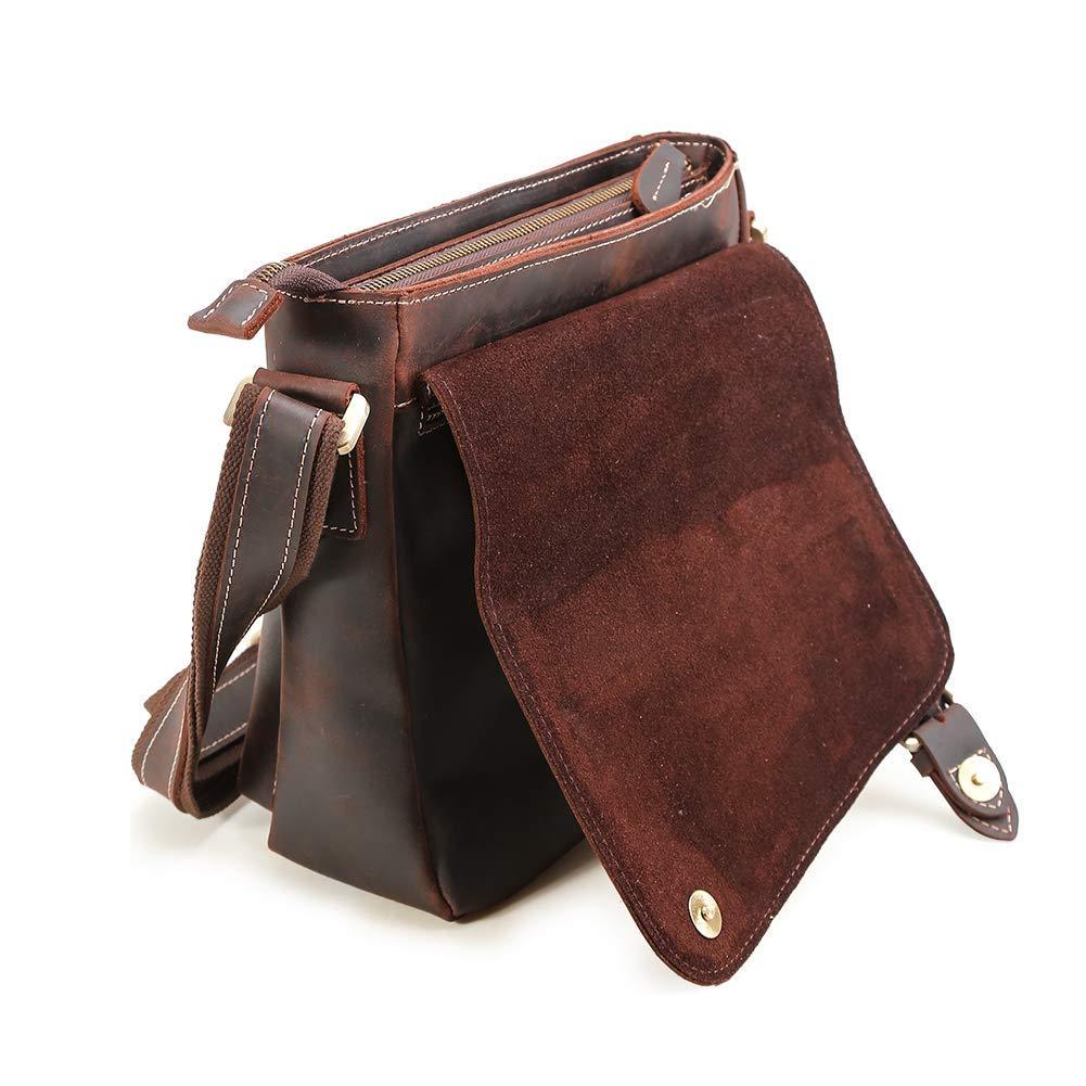 Artishus 13.5 inch Handmade Genuine Leather Satchel Laptop Briefcase Messenger Bag Dark Brown