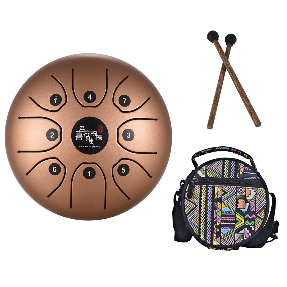 Mowind Steel Tongue Drum Tank Drum C Key 8 Notes 5.5 Inch Percussion Instrument with Drum Mallets Carry Bag Gold