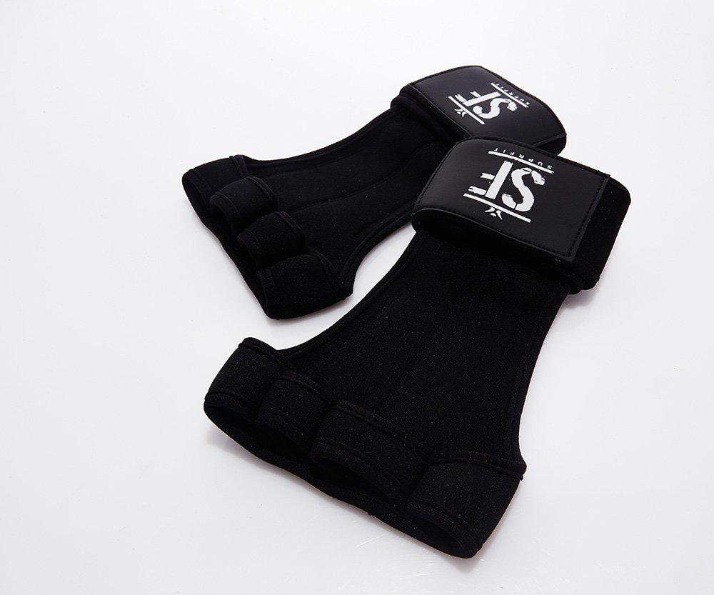 Gymnastik Handschuh Schwarz Mit Handgelenk Schutz Suprfit Gymnastic WOD Grips Leder Handfl/äche XS-XL Crossfit Turnen Fitness Hand Schutz Turn Riemchen