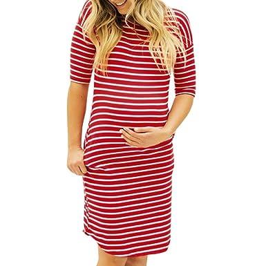 Siviki 2018 Maternity Dress, Womens Pregnants O-Neck Stripe Short Sleeve Nursing Crew Neck Dress Skirt at Amazon Womens Clothing store: