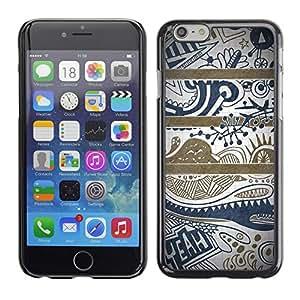 Cubierta de la caja de protección la piel dura para el Apple iPhone 6 (4.7) - blue text clean pretty pattern