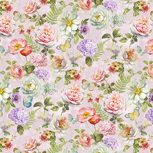 Butterfly Haven Floral Large Flowers Cotton Fabric by Wilmington Prints