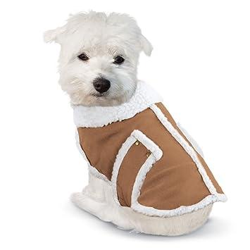 Amazon.com : Shearling Fleece Dog Winter Coat Brown X-Large
