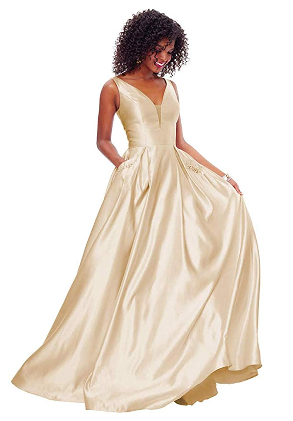 01champgne PROMNOVAS Women's V Neck Backless Beaded Satin Prom Dress Long Formal Evening Gown with Pockets