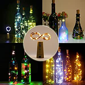 Fannybuy Wine Bottle Lights with Cork 78in/20LEDS Battery Powered Cork Shaped Led Starry String Lights Lamps for DIY, Party, Decor, Christmas, Halloween,Wedding Warm White (2 pack Warm White)