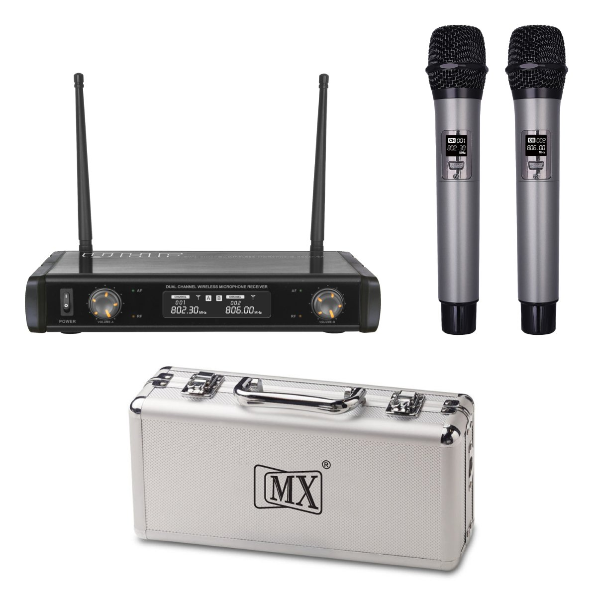 1c401b34 MX UHF Wireless Cordless Microphone System 2 Handheld Mic Fixed Frequency  UHF400: Amazon.in: Musical Instruments
