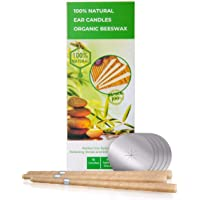 100% Natural Beeswax & Cotton Muslin Ear Candle Kit - Therapeutic Candling Cones Pack of 10