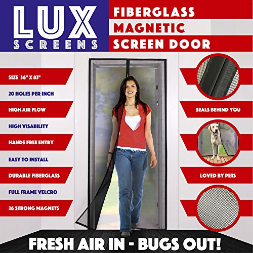 Magnetic Screen Door New 2017 Patent Pending Design Full Frame Velcro & Fiberglass Mesh Not...