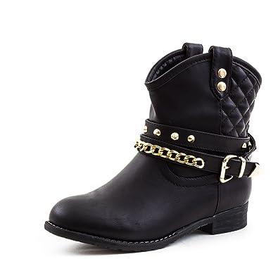 7780cf42c21441 Damen Western Cowboy Boots in Hochwertiger Lederoptik mit Nieten Schwarz 36