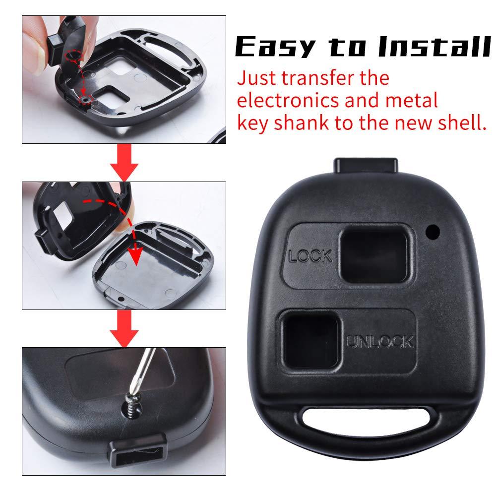 Cover di ricambio per chiave elettronica confezione da 2 MIKKUPPA per Toyota Yaris Avensis Camry Corolla Rav4 Prado con cacciavite