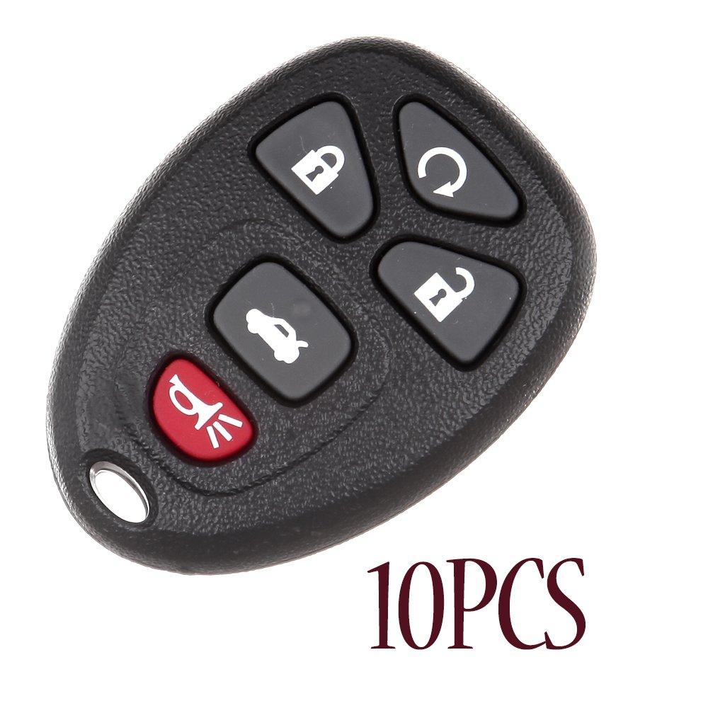 ECCPP 10 x新しい交換用シェルケースとパッド5ボタンリモートキーFob with FCC kobgt04 a – シェルのみ B07BBFFPFX